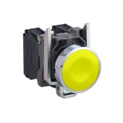 "Yellow flush complete pushbutton diameter: 22, spring return 1NO ""unmarked"""