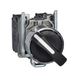 Black selector switch diam: 22, 3-position spring return 2NO 600V
