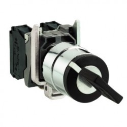 Black selector switch diam: 22, 2-position stay put 1NO 600V