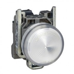 White complete pilot light diameter:22, plain lens with integral LED 24V
