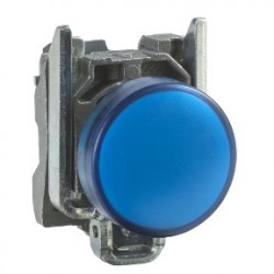 Blue complete pilot light diameter: 22, plain lens with integral LED 24V