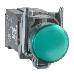 Green complete pilot light diameter: 22, plain lens with integral LED 230...240V