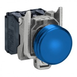Blue complete pilot light diameter: 22, plain lens with integral LED 230...240V