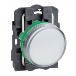 White complete pilot light diameter: 22, plain lens with integral LED 24V