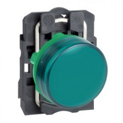 Green complete pilot light diameter: 22, plain lens with integral LED 24V