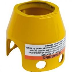 Yellow metal padlockable guard for diam 40 mushroom head