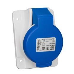 PratiKa socket, angled, 16 A, 2P + E, 200...250 V AC, IP44
