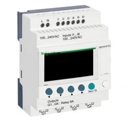 Modular smart relay Zelio Logic - 10 I O - 100..240 V AC - clock - display