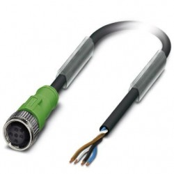 Sensor/actuator cable, 4-position, PUR halogen-free, black-gray, free cable end, on Socket straight M12, cable length: 5 m, SAC