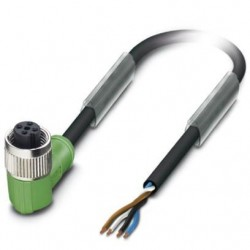 Sensor/actuator cable, 4-position, PUR halogen-free, black-gray, free cable end, on Socket angled M12, L: 1.5 m, SAC-4P- 1,5-PU